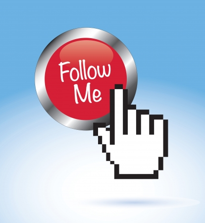 follow me: Follow me button with hand vector illustration  Illustration