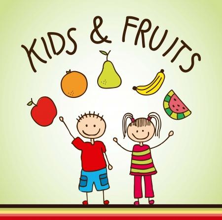 kid eat: ni�os con antecedentes frutas. ilustraci�n vectorial