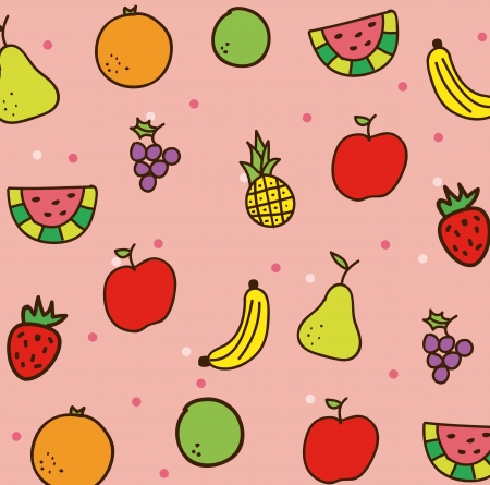 cartoons sweet: fruits drawing over pink background. vector illustration