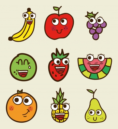 diet cartoon: fruits drawing over beige background. vector illustration Illustration