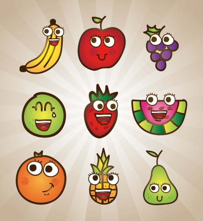 fruits drawing over vintage background. vector illustration Stock Vector - 17428338