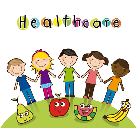 health cartoons: children with fruits background. vector illustration Illustration