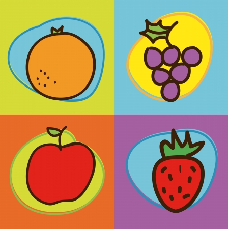 fruits drawing over colorful background. vector illustration Vector