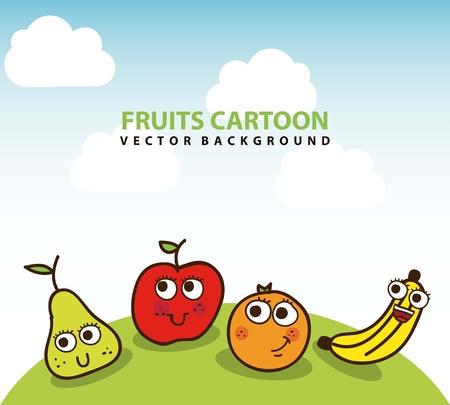 fruits drawing over landscape background. vector illustration Stock Vector - 17427302