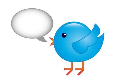 seguito: uccello blu con bolla pensiero su sfondo bianco. vettore