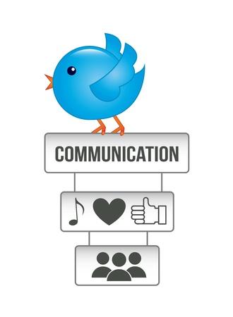 follower: blue bird over white background. vector illustration Illustration