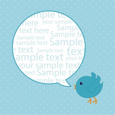 blauwe vogel over blauwe achtergrond. vector illustratie