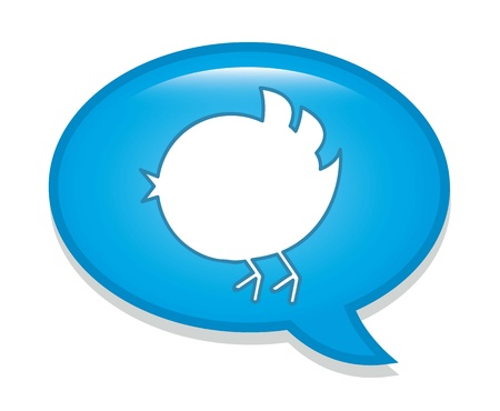 follower:  bird over bubble thought over white background. vector