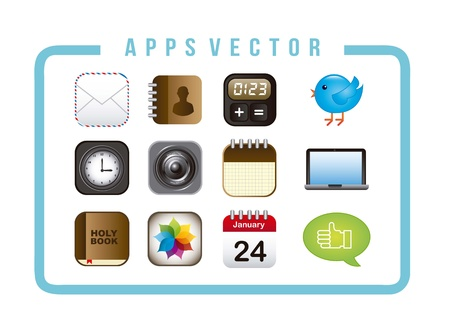 colorful apps over white background. vector illustration Vector
