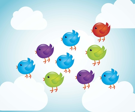 twitter: colorful birds cartoons over sky background. vector