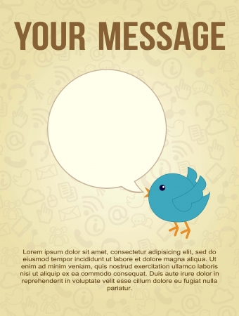 proposition: blue bird with bubble thought over vintage background. vector