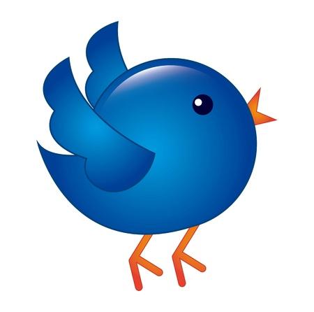 follower: blue bird isolated over white background. vector illustration Illustration