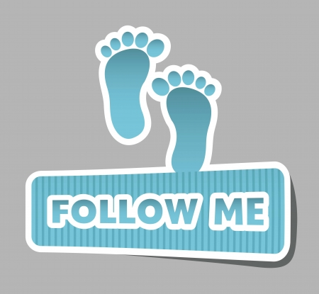 follow me icon with footprints. vector illustration Stock Vector - 17427425