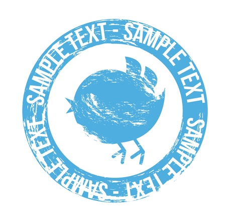 pajaro azul: sello p�jaro azul sobre fondo blanco. vector Vectores