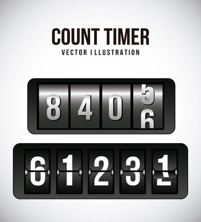 wijzerplaat: tellen timer over grijze achtergrond. vector illustratie