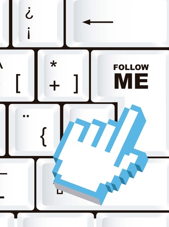 follow me sign, over keyboard with cursor hand. vector Vector