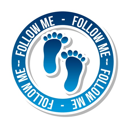 follow icon: follow me icon with footprints. vector illustration