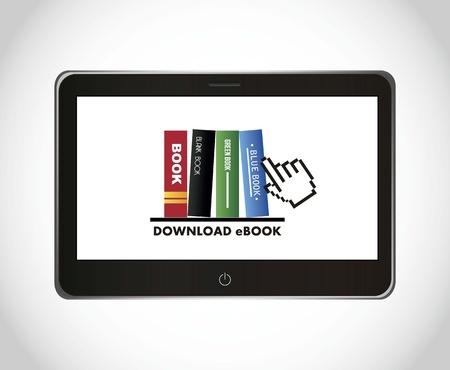 databank: ebook download over gray background. vector illustration Illustration