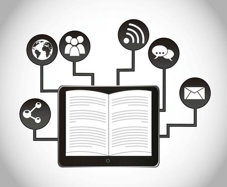 ereader: ebook download over gray background. vector illustration Illustration