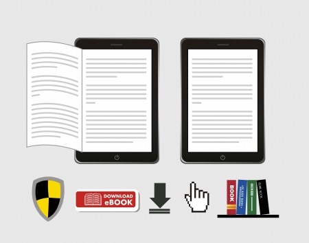 ebook download over gray background. vector illustration Vector