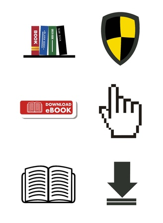 ebook download icons  background. vector illustration Stock Vector - 17427296