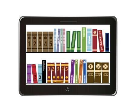 e-book library concept over gray background. vector illustration