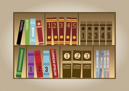 bookshelf of wooden with books. vector illustration