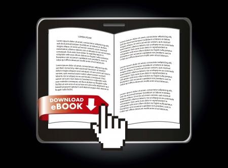 ebook download over black background. vector illustration Stock Vector - 17428340