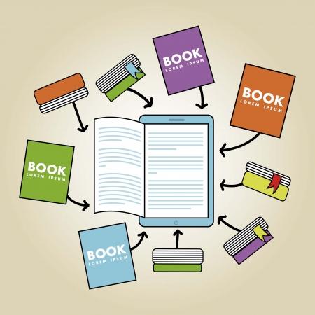 ebook download over beige background. vector illustration Stock Vector - 17427339