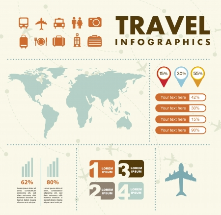 vintage travel: infographie réglé avec différents éléments. illustration vectorielle Illustration