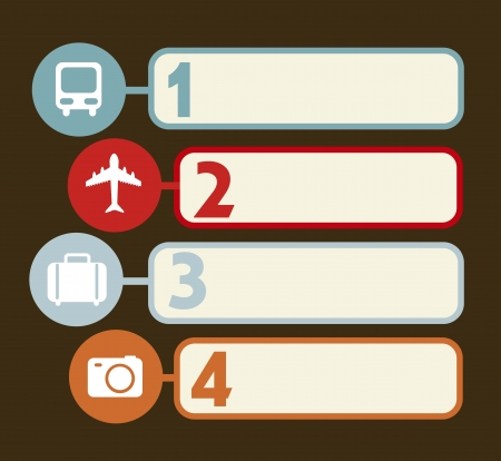 travel numbers labels over brown background. vector Stock Vector - 17427265