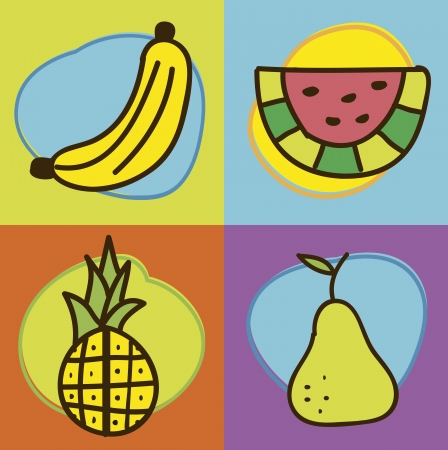 fruits drawing over white background. vector illustration Vector