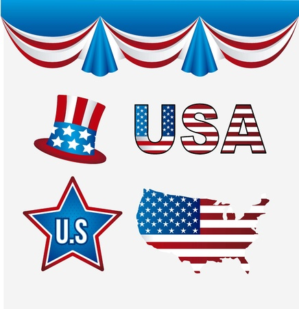usa elements over white background. vector illustration Stock Vector - 17427775