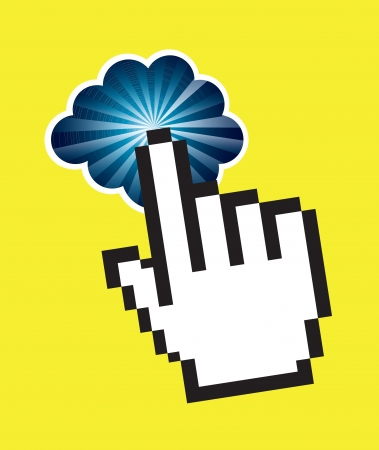 Hand and cloud over yellow background vector illustration Stock Vector - 17564489
