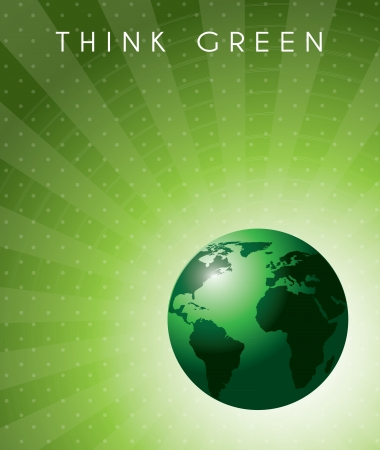 Think green background over lines background vector illustration Vector