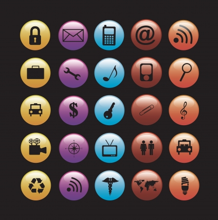 Communications icons over black background vector illustration Stock Vector - 17564483