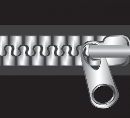 Chrome zipper over black background vector illustration Stock Vector - 17564485