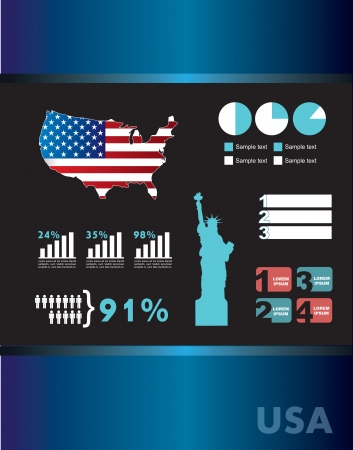 infomation: United States icons over blue background vector illustration