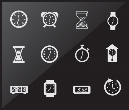 clock icon: Time icons over black background vector illustration