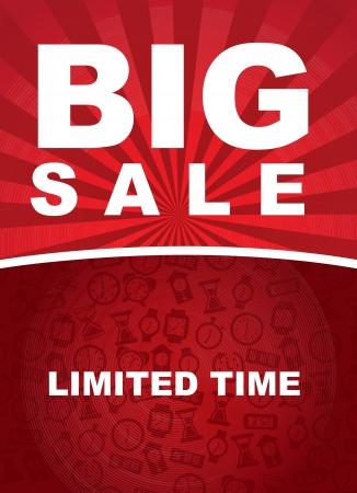 super market: Big sale over red background vector illustration