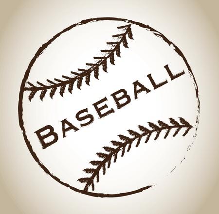 baseball player: Baseball ball over gray background vector illustration