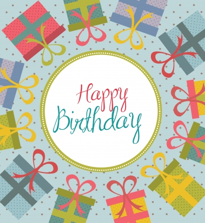 Happy Birthday card over gift background vector illustration Stock Vector - 17564569