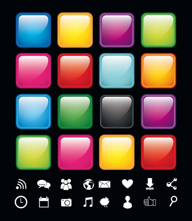 blank buttons with icons, app store. vector illustration Stock Vector - 17564826