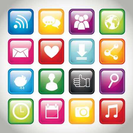 download music: colorful app buttons over gray background. vector illustration