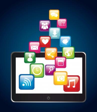 app store: apps over tablet,app store. vector illustration