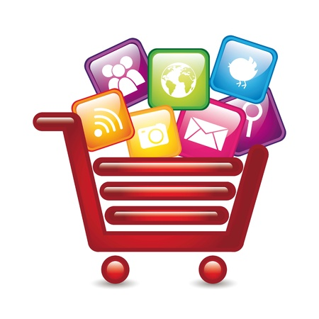 app store: apps over shopping cart, app store. vector illustration