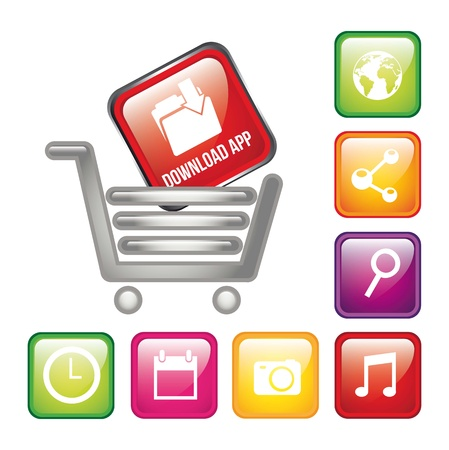 app store: colorful apps with shopping cart, app store. vector illustration Illustration
