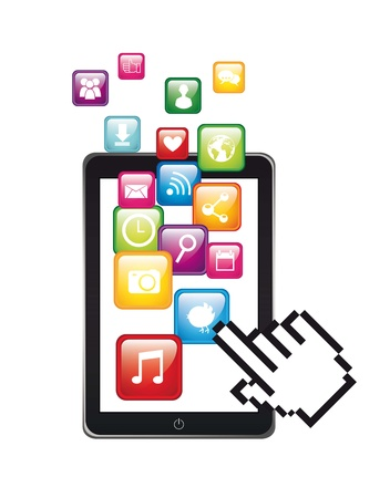 app store: app store with cursor hand illustration isolated. vector