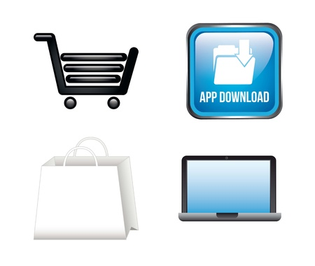 app store icons isolated over white background. vector Vector