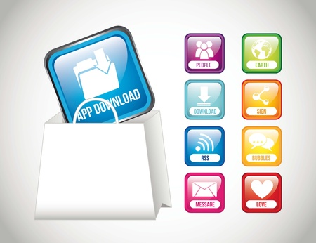 app store buttons with shopping bag. vector illustration Vector